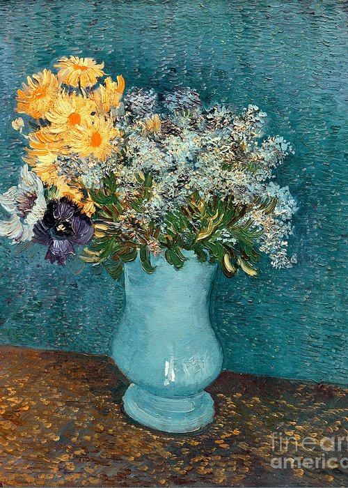 Vase Greeting Card featuring the painting Vase Of Flowers by Vincent Van Gogh