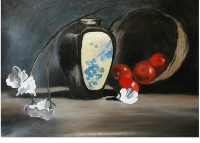 Still Life Greeting Card featuring the painting Vase With Apples by Angelo Thomas