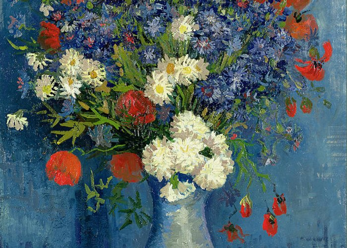 Still Greeting Card featuring the painting Vase With Cornflowers And Poppies by Vincent Van Gogh