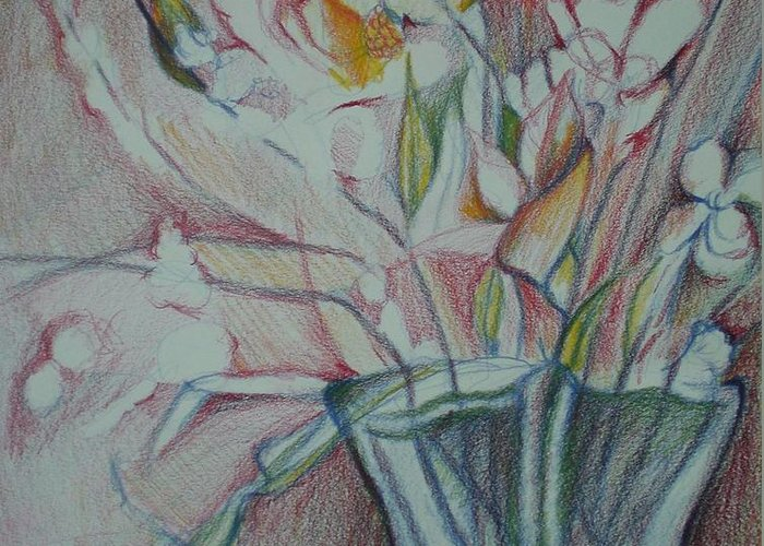 Greeting Card featuring the drawing Vase With Flowers by Aleksandra Buha