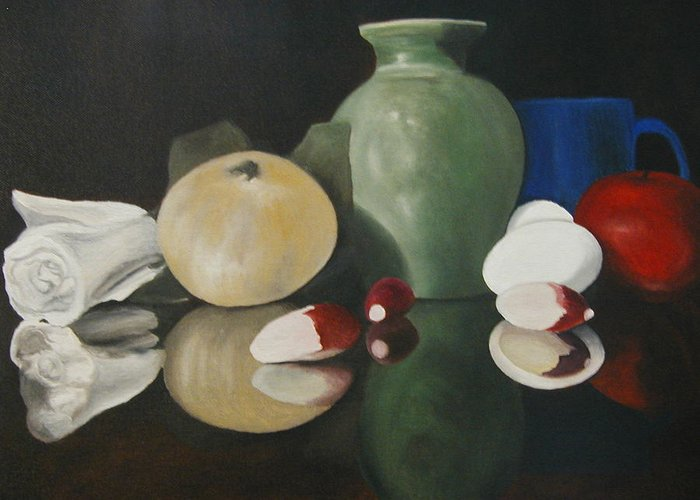 Still Life Greeting Card featuring the painting Vase With Radishes by Angelo Thomas