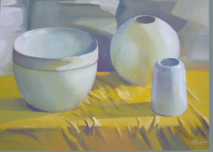 Still Life Greeting Card featuring the painting Vases by Elena Oleniuc