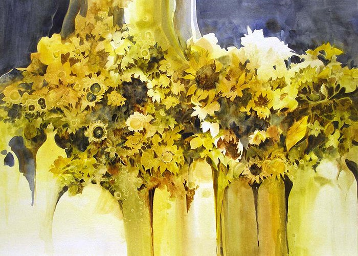 Yellow Flowers;sunflowers;vases;floral;contemporary Floral; Greeting Card featuring the painting Vases Full Of Blooms  by Lois Mountz