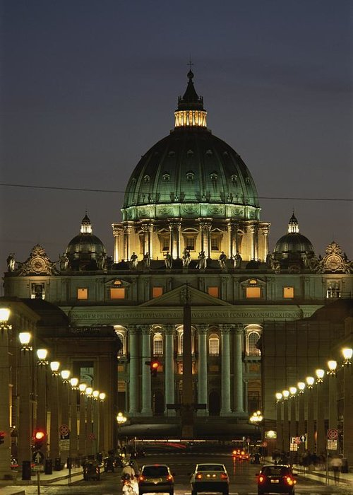 Europe Greeting Card featuring the photograph Vatican, Rome, Italy. Night View by Richard Nowitz