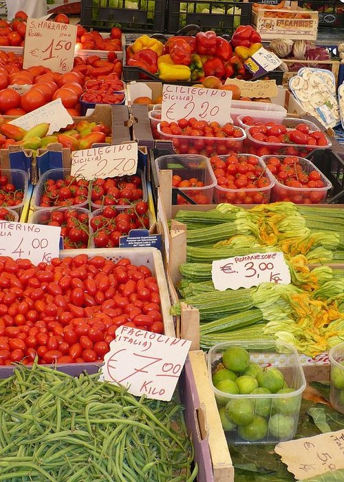 European Markets Greeting Card featuring the photograph Vegetables At Italian Market by Carol Groenen