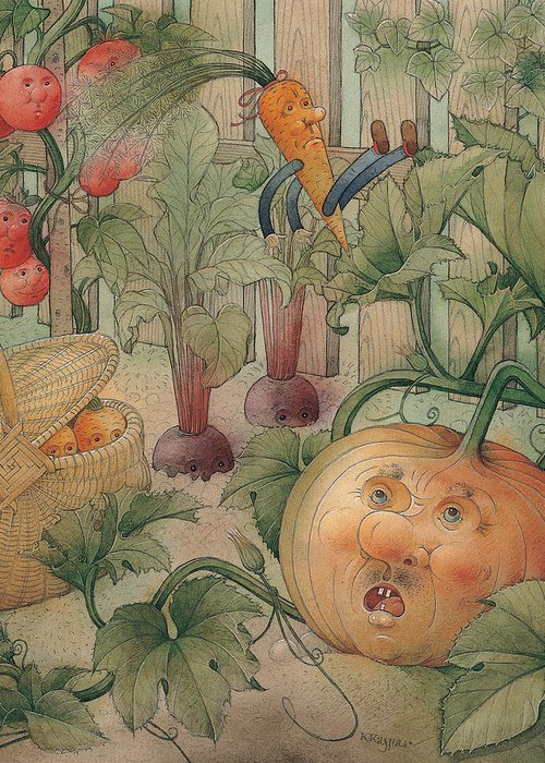 Vegetables Garden Green Autumn Kitchen Pumpkin Greeting Card featuring the painting Vegetables by Kestutis Kasparavicius