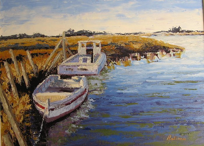 Water Greeting Card featuring the painting Veldrift Boats by Yvonne Ankerman