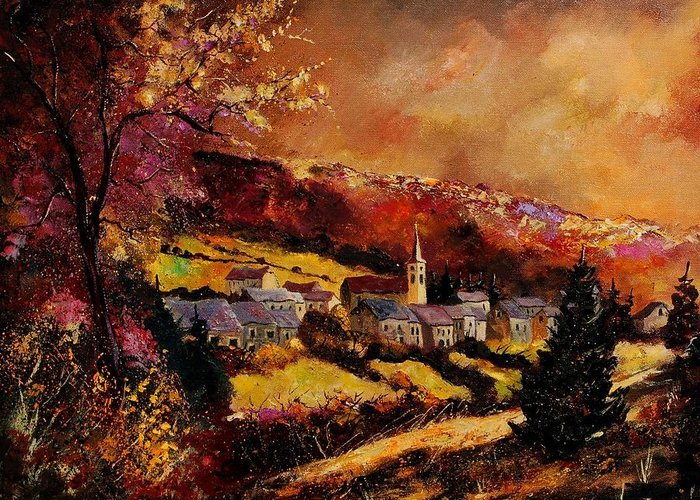 River Greeting Card featuring the painting Vencimont Village Ardennes by Pol Ledent