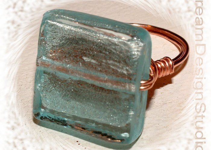Blue Greeting Card featuring the glass art Venetian Blue Glass and Copper Wrap Ring by Donna Phitides