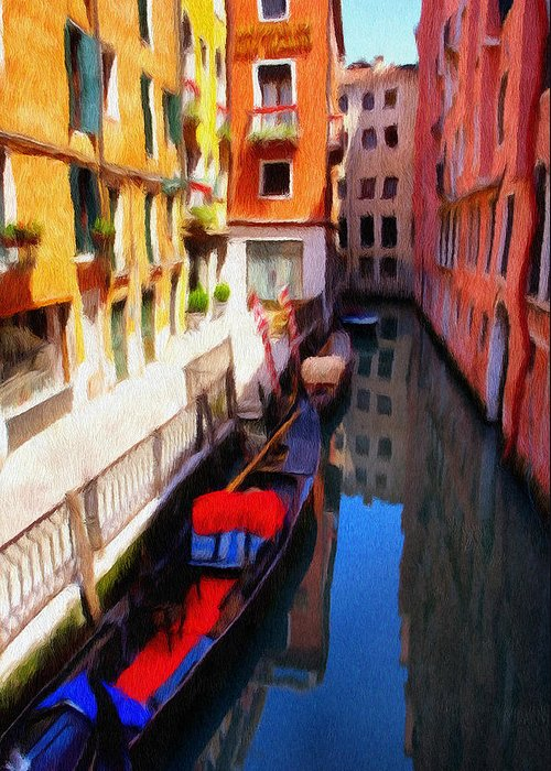 Venice Greeting Card featuring the painting Venetian Canal by Jeff Kolker
