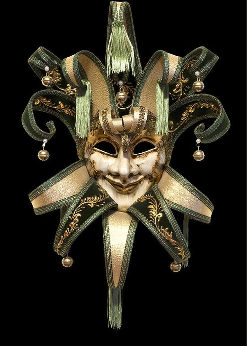 Black Background Greeting Card featuring the photograph Venetian Mask by Fabrizio Troiani