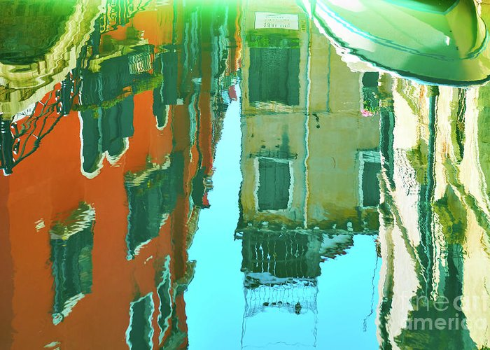 Architecture Greeting Card featuring the photograph Venetian Mirror - Venice In Water Reflections by Roman Sigaev