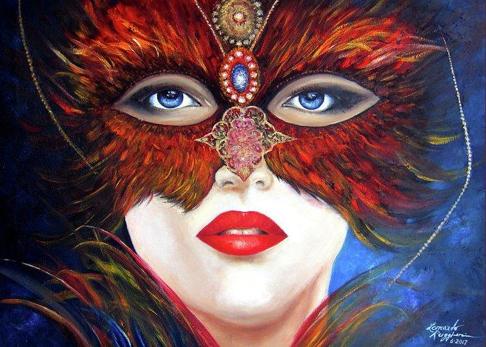 Venetian Theme Carnival Greeting Card featuring the painting Venetian Tigress by Leonardo Ruggieri