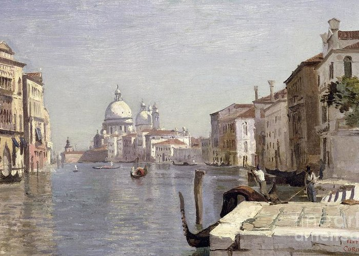 Venice Greeting Card featuring the painting Venice - View Of Campo Della Carita Looking Towards The Dome Of The Salute by Jean Baptiste Camille Corot