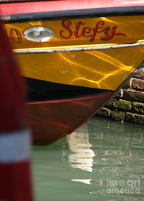 Venice Greeting Card featuring the photograph Venice Boat Closeup by Jeff White