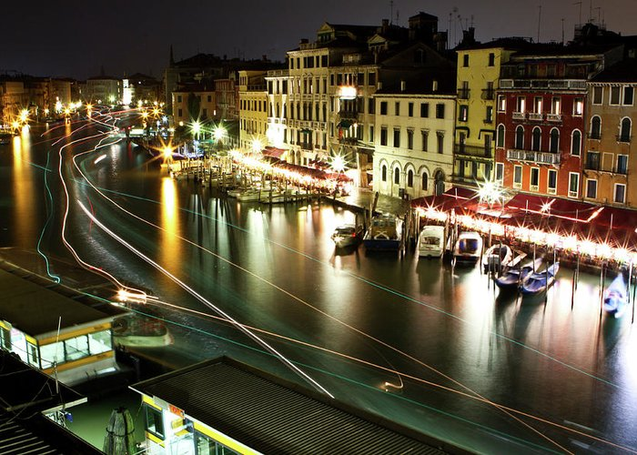 Travel Greeting Card featuring the photograph Venice Canal At Night by Patrick English