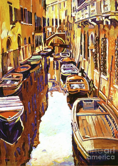 Impressionist Greeting Card featuring the painting Venice Canal by David Lloyd Glover