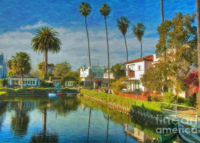 Venice Greeting Card featuring the photograph Venice Canal Houses Watercolor by David Zanzinger