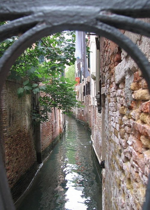 Angelica Dichiara Paintings Greeting Card featuring the photograph Venice Canal Through Gate by Italian Art
