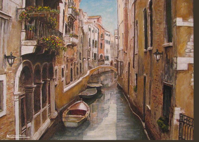 Angelica Dichiara Greeting Card featuring the painting Venice-canale Veneziano by Italian Art