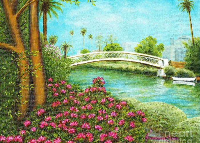 Venice Greeting Card featuring the painting Venice Canals Springtime by Jerome Stumphauzer