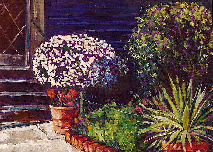 Garden Greeting Card featuring the painting Venice Entryway by Karen Doyle