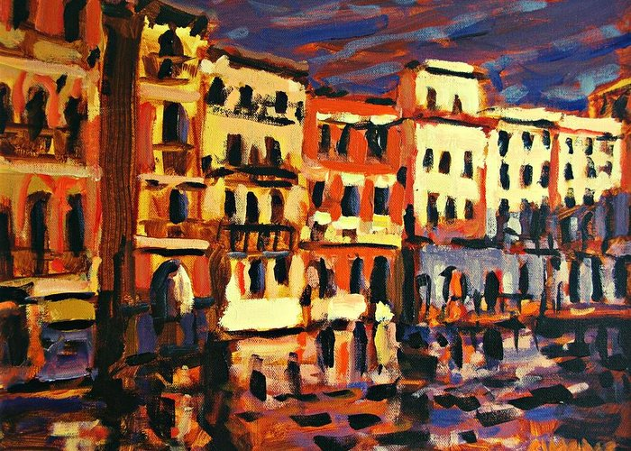 Paintings Greeting Card featuring the painting Venice Evening by Brian Simons