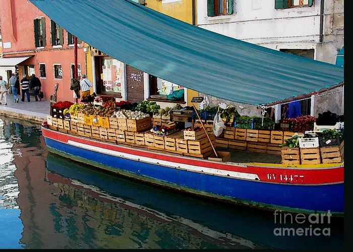 Angelica Dichiara Greeting Card featuring the photograph Venice Fresh Market Boat by Italian Art