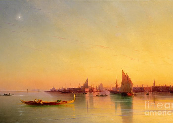 Venice From The Lagoon At Sunset Greeting Card featuring the painting Venice From The Lagoon At Sunset by Ivan Konstantinovich Aivazovsky