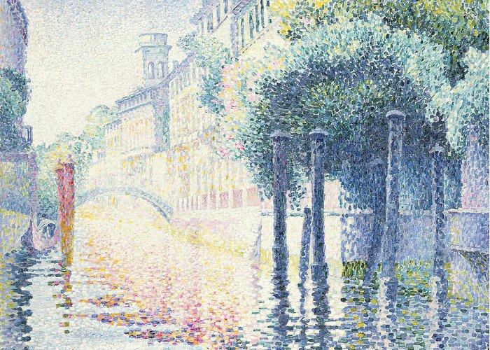 Rio San Trovaso Greeting Card featuring the painting Venice by Henri-Edmond Cross