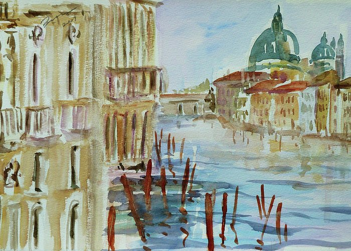 Venice Greeting Card featuring the painting Venice Impression III by Xueling Zou