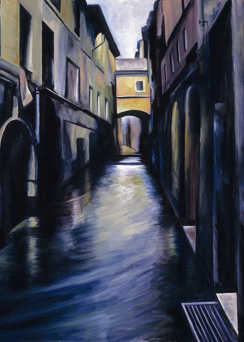 Street; Canal; Venice ; Desert; Abandoned; Delapidated; Lost; Highway; Route 66; Road; Vacancy; Run-down; Building; Old Signage; Nastalgia; Vintage; James Christopher Hill; Jameshillgallery.com; Foliage; Sky; Realism; Oils Greeting Card featuring the painting Venice by James Christopher Hill