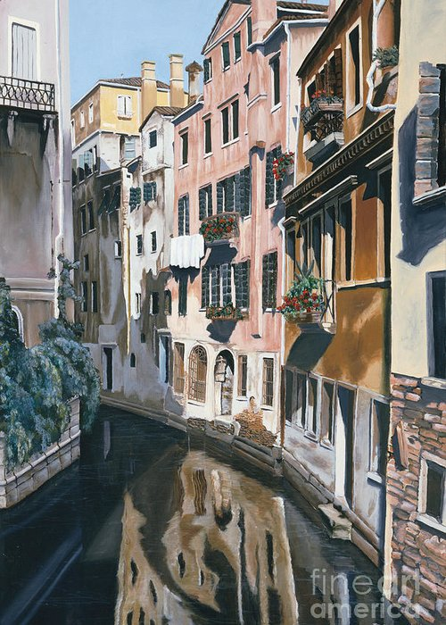 Venice Greeting Card featuring the painting Venice by Jiji Lee