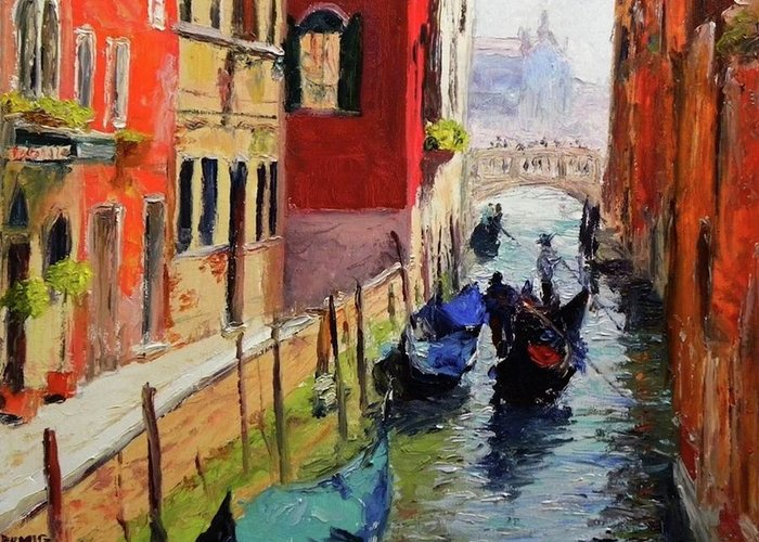 Venice Greeting Card featuring the painting Venice by Paul Emig