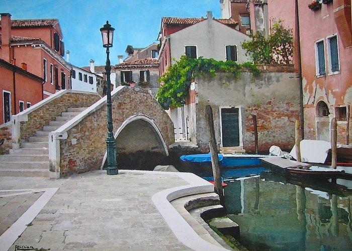 Angelica Dichiara Greeting Card featuring the mixed media Venice Piazzetta And Bridge by Italian Art