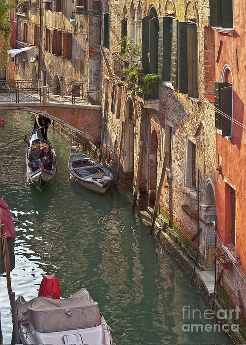 Venice Greeting Card featuring the photograph Venice Ride With Gondola by Heiko Koehrer-Wagner