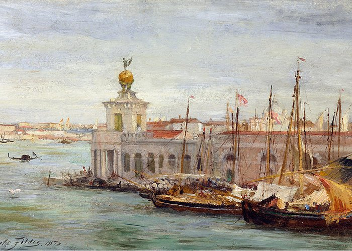 Boat Greeting Card featuring the painting Venice by Sir Samuel Luke Fields