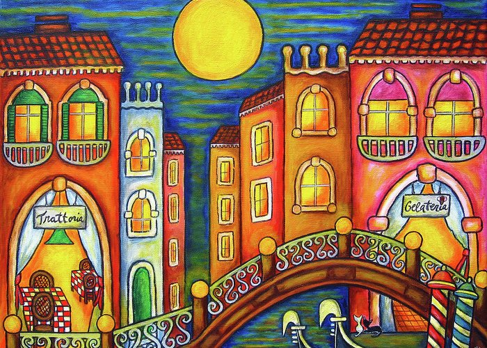 Colourful Greeting Card featuring the painting Venice Soiree by Lisa Lorenz