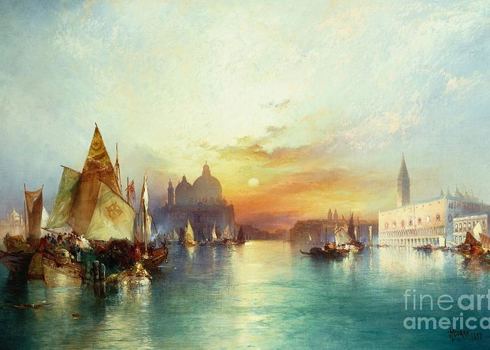 Venetian Scene; Sailing Boats; Architecture; Sunset; Atmospheric; Tranquil; Veneto-byzantine; Hudson River School; Italian; Dusk; Palazzo Ducale; Lagoon; Doge's Palace; Campanile; Thomas Moran Greeting Card featuring the painting Venice by Thomas Moran