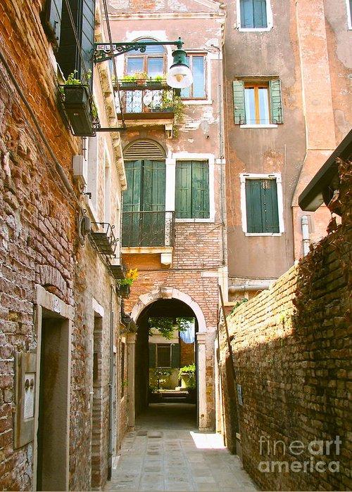 Angelica Dichiara Greeting Card featuring the photograph Venice- Venezia-calle Veneziana by Italian Art