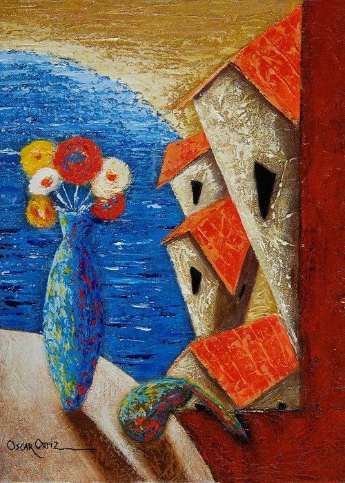 Landscape Greeting Card featuring the painting Ventana Al Mar by Oscar Ortiz