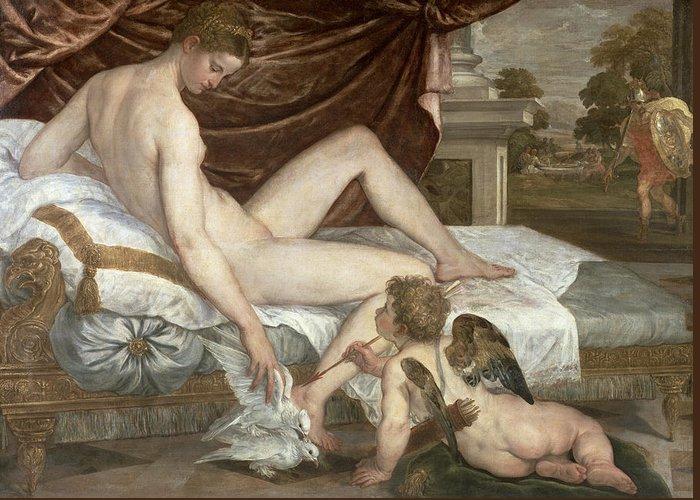 Venus Greeting Card featuring the painting Venus And Cupid by Lambert Sustris