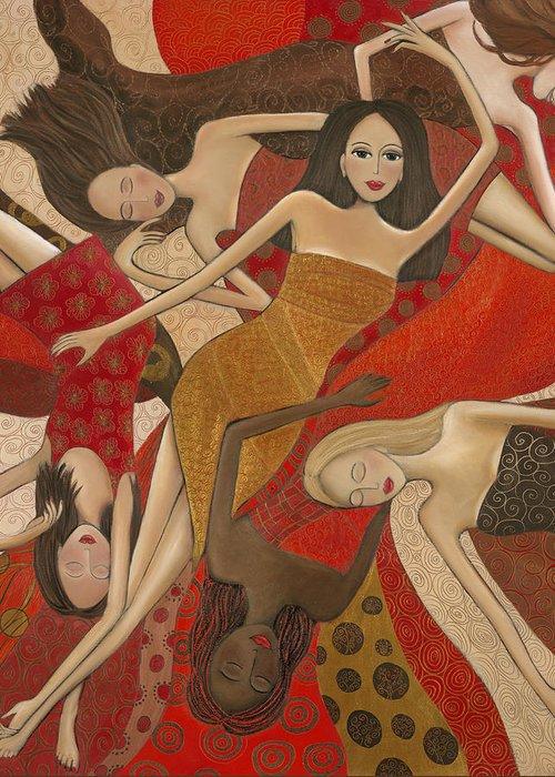 Female Greeting Card featuring the painting Vermilion Dream by Denise Daffara