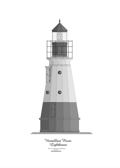 Lighthouse Greeting Card featuring the painting Vermillion River Lighthouse Architectural Rendering by Anne Norskog