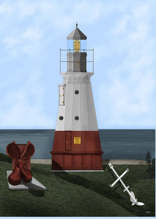 Lighthouse Greeting Card featuring the painting Vermillion River Lighthouse On Lake Erie by Anne Norskog