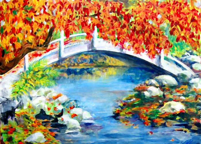 Painting Greeting Card featuring the photograph Vermont Bridge by Lyn Vic