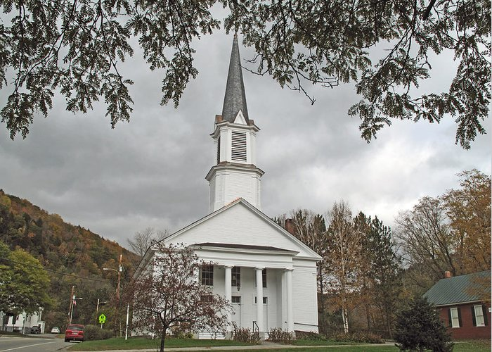 Church Greeting Card featuring the photograph Vermont Church by Barbara McDevitt
