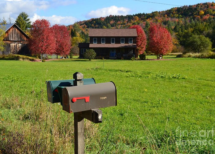 Farm Greeting Card featuring the photograph Vermont Farm In Autumn by Rossano Ossi