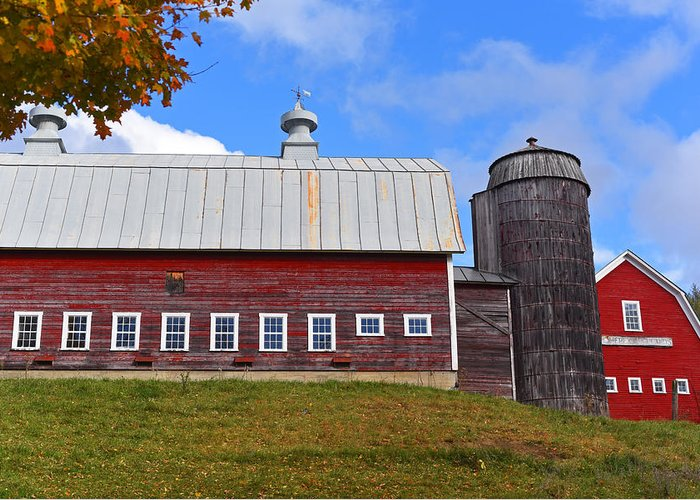 Vermont Farm Woodstock Vt Red Barn Greeting Card