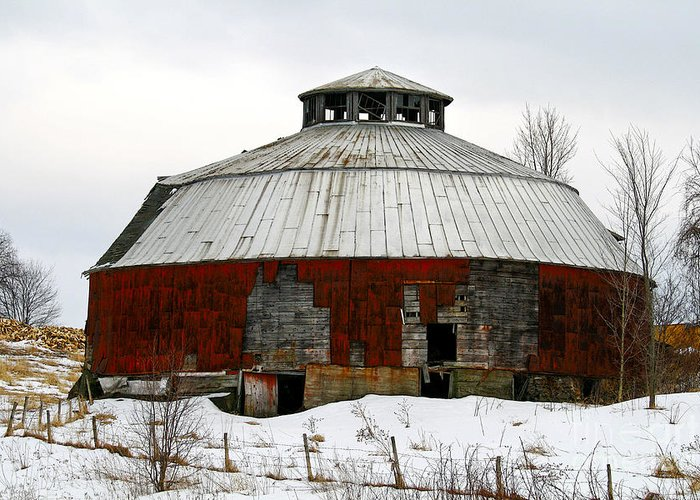 Barn Greeting Card featuring the photograph Vermont Round Barn by Deborah Benoit